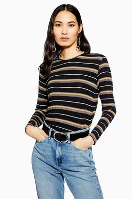 Topshop Glitter Stripe Long Sleeve Top