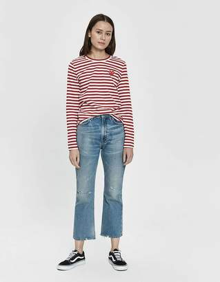 Comme des Garcons Play Striped Long Sleeve Tee in Red
