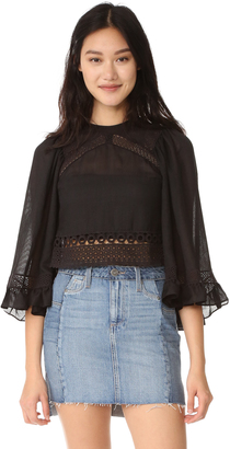 McQ - Alexander McQueen Volume Sleeve Lace Top $480 thestylecure.com