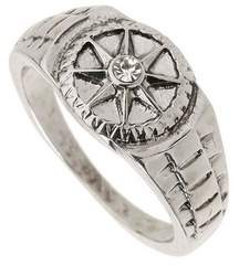 Mens Silver Compass Ring