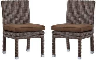 Homevance HomeVance Ravinia Mocha Wicker Dining Chair 2-piece Set