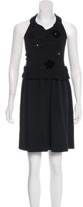 Sonia Rykiel Sonia by Silk & Merino Wool Sleeveless Halter Dress