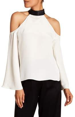 Ramy Brook Serena Cold Shoulder Mock Neck Silk Blouse