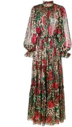 Dolce & Gabbana rose leopard print maxi dress