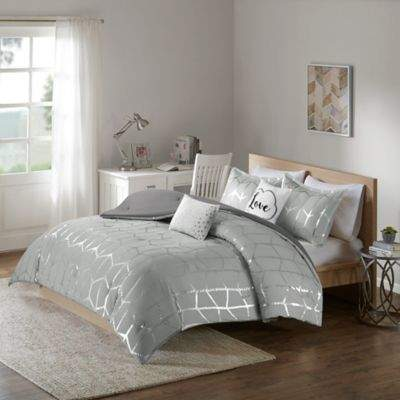 Intelligent Design Raina 4-Piece Twin/Twin XL Comforter Set in Grey/Silver
