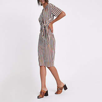 River Island Cream stripe rib tie front midi dress