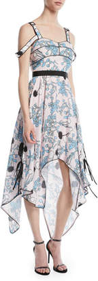 Self-Portrait Asymmetric Floral-Print Midi Dress