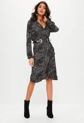 Missguided Black Galaxy Star Print Ruffle Midi Dress