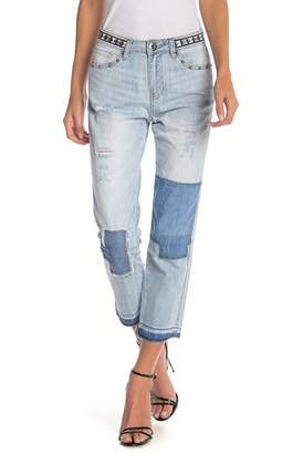 Desigual Olga Distressed Patched Crop Jeans