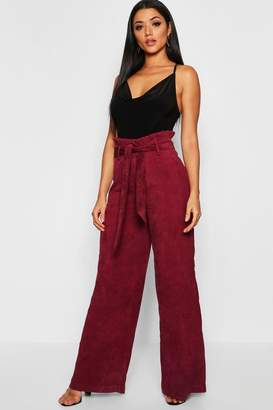 7bf22402a2aa6 boohoo Paperbag Tie Waist Cord Wide Leg Trousers