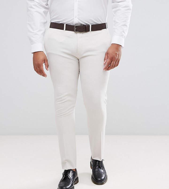 Asos Plus Super Skinny Smart Pants In Cream