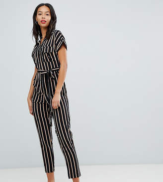 New Look Tall utility pocket button jumpsuit in stripe