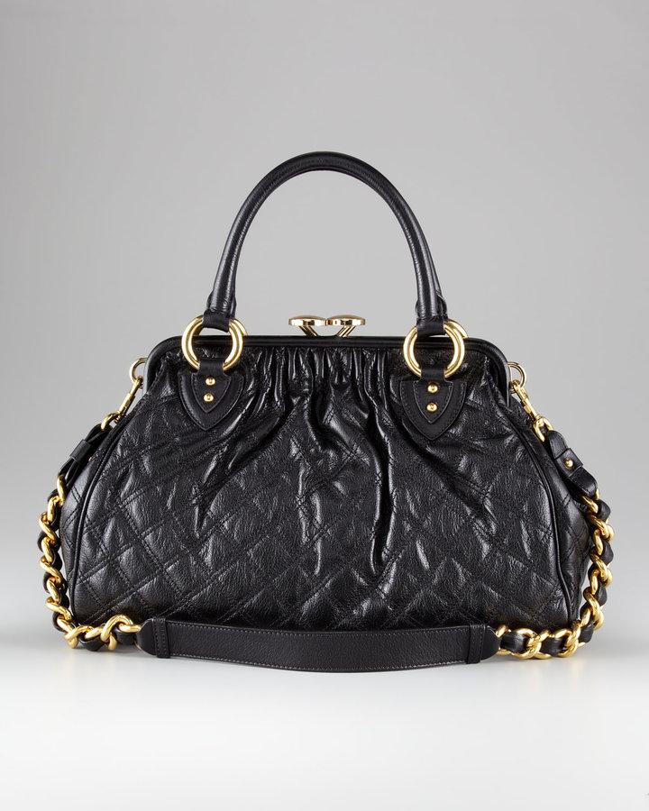 Marc Jacobs Stam Quilted Satchel Bag, Black