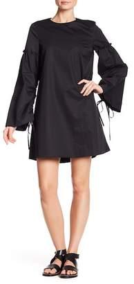 Tibi Drawstring Bell Sleeve Shift Dress