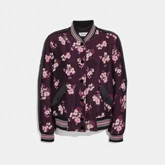 Coach Forest Floral Jacquard Varsity Jacket