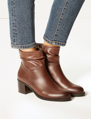 Marks and Spencer Leather Ruched Jeans Boots