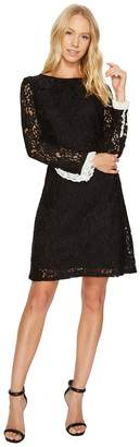 Adrianna Papell Lace Shift with Long Sleeves Women's Dress