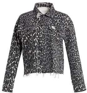 Mother Cut Drifter Leopard Print Distressed Jacket
