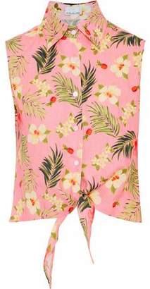 Miguelina Nelline Tie-Front Floral-Print Linen Shirt