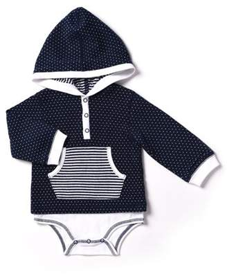 Kapital K Newborn Baby Boy Layered Hooded Bodysuit