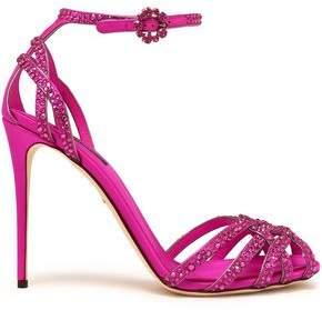 Dolce & Gabbana Crystal-Embellished Silk-Satin Sandals