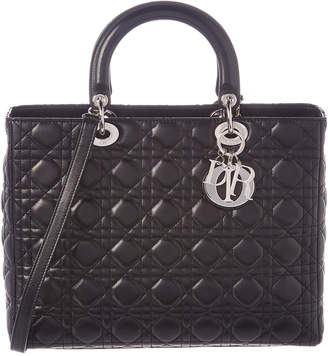 Christian Dior Black Lambskin Leather Large Lady