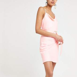 River Island Bright pink cowl neck belted slip dress