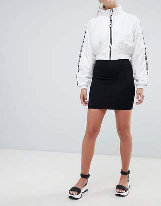 Stradivarius plain black tube skirt mini