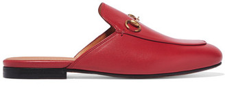 Gucci - Princetown Horsebit-detailed Leather Slippers - Red $595 thestylecure.com