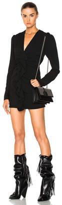 Saint Laurent Ruffle Front Mini Dress