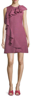 MSGM Sleeveless Ruffle Plaid A-Line Wool Dress