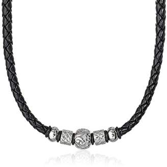 Cold Steel Men's Stainless Steel Tribal Bead Black Leather Necklace