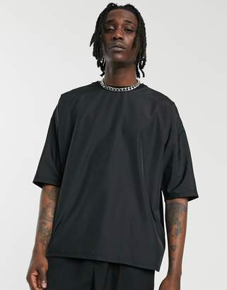 Asos Design DESIGN oversized t-shirt with half sleeve in woven fabric