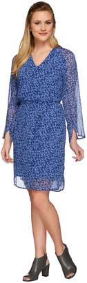 Halston H By H by Printed V-neck Long Sleeve Woven Dress with Tie Belt