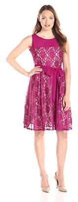 Julian Taylor Women's Sleeveless Lace Dress with Tie