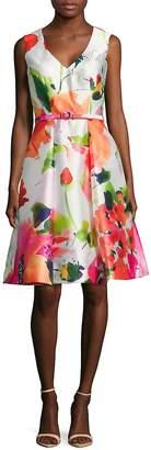 David Meister Women's Floral Dance Sleeveless Dress