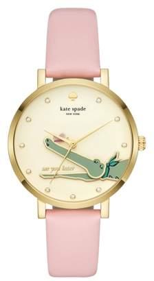 Kate Spade Monterey Alligator Leather Strap Watch, 38mm