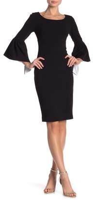 Modern American Designer Contrast Bell Sleeve Boatneck Dress