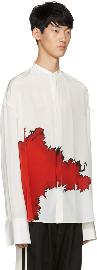 Haider Ackermann Ivory Collarless Graphic Shirt 4