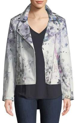 Neiman Marcus Leather Collection Leather Watercolor Floral Motorcycle Jacket