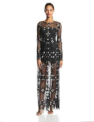 BCBGMAXAZRIA Women's Taliah Engineered Lace Evening Gown