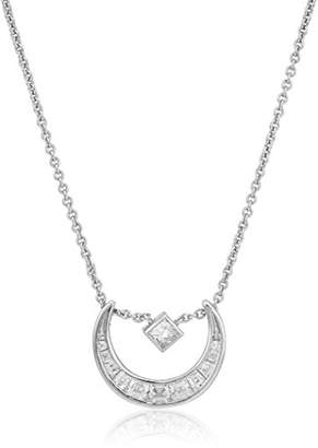 Nicole Miller New York Crescent Slide Silver Pendant Necklace