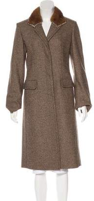 Blumarine Mink Fur-Trimmed Wool Coat