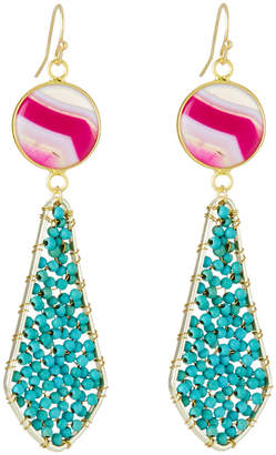 Panacea Beaded Double Stone-Drop Earrings, Fuchsia/Turquoise