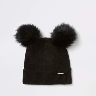 a7e998bf5b9 River Island Womens Black faux fur double pom pom beanie hat