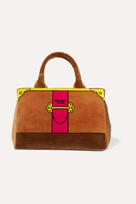 Prada Printed Velvet Tote - Brown