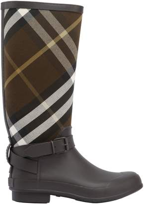 Burberry Check Canvas & Rubber Rain Boots