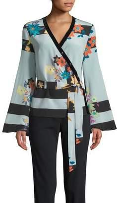 Etro Kimono-Print Wrap Blouse