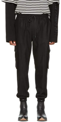 Juun.J Black Cargo Drawstring Jogging Trousers