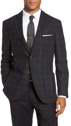 JKT NEW YORK Trim Fit Windowpane Wool Blend Sport Coat